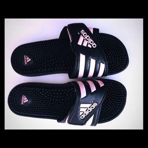 eaa4321760fa 2  15 Adidas Sandals Black Pink Size 7 Slip On